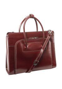 Czerwona torba na laptopa MCKLEIN w kolorowe wzory, elegancka
