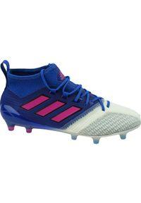 Niebieskie korki Adidas w kolorowe wzory, z cholewką