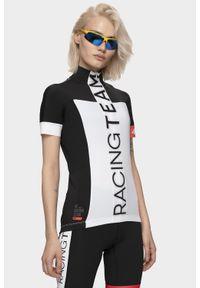 Biała koszulka rowerowa 4f długa, ze stójką