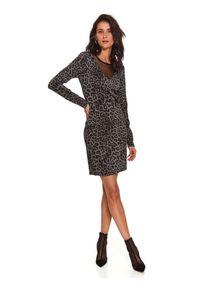 Czarna sukienka TOP SECRET koszulowa, z motywem zwierzęcym
