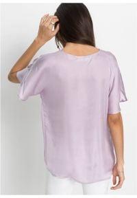 Bluzka satynowa z poliestru z recyklingu bonprix dymny bez. Kolor: fioletowy. Materiał: satyna, poliester