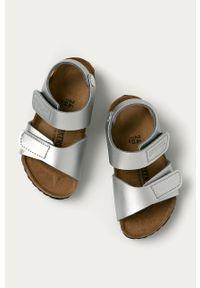 Srebrne sandały Birkenstock na rzepy