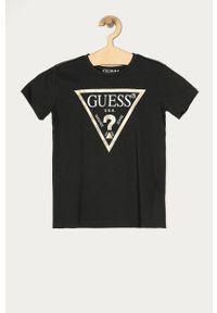 Szary t-shirt Guess Jeans casualowy, na co dzień, z nadrukiem