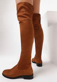 Born2be - Camelowe Kozaki Autumneye. Wysokość cholewki: za kolano. Zapięcie: zamek. Materiał: jeans, futro, materiał. Szerokość cholewki: normalna. Wzór: gładki. Obcas: na obcasie. Wysokość obcasa: niski