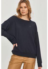 Niebieska bluza TOMMY HILFIGER gładkie, z długim rękawem, długa
