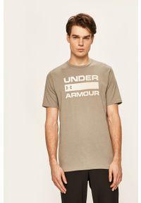 Zielony t-shirt Under Armour z okrągłym kołnierzem, z nadrukiem