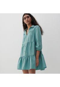 Reserved - Sukienka z falbanami - Zielony. Kolor: zielony