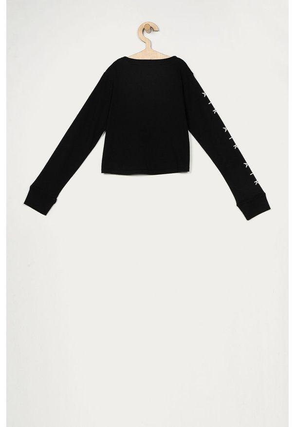 Czarna bluzka z długim rękawem Nike Kids z nadrukiem, casualowa, z okrągłym kołnierzem, długa