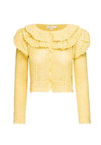 Żółty sweter LoveShackFancy na lato, z długim rękawem, z falbankami, w kolorowe wzory