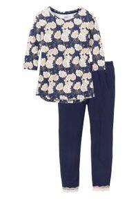 Piżama z legginsami 3/4 bonprix ciemnoniebieski z nadrukiem