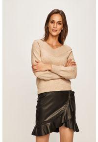 Beżowy sweter Jacqueline de Yong raglanowy rękaw, casualowy, na co dzień