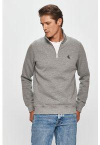 Szara bluza nierozpinana Calvin Klein Jeans na co dzień, bez kaptura, casualowa, krótka