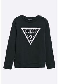 Czarna bluza Guess Jeans z nadrukiem, casualowa