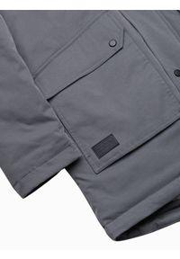 Ombre Clothing - Kurtka męska zimowa C517 - grafitowa - XXL. Kolor: szary. Materiał: poliester. Sezon: zima