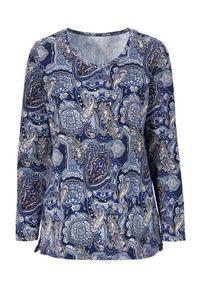 Niebieski sweter Cellbes na co dzień, z dekoltem w serek, z długim rękawem, długi