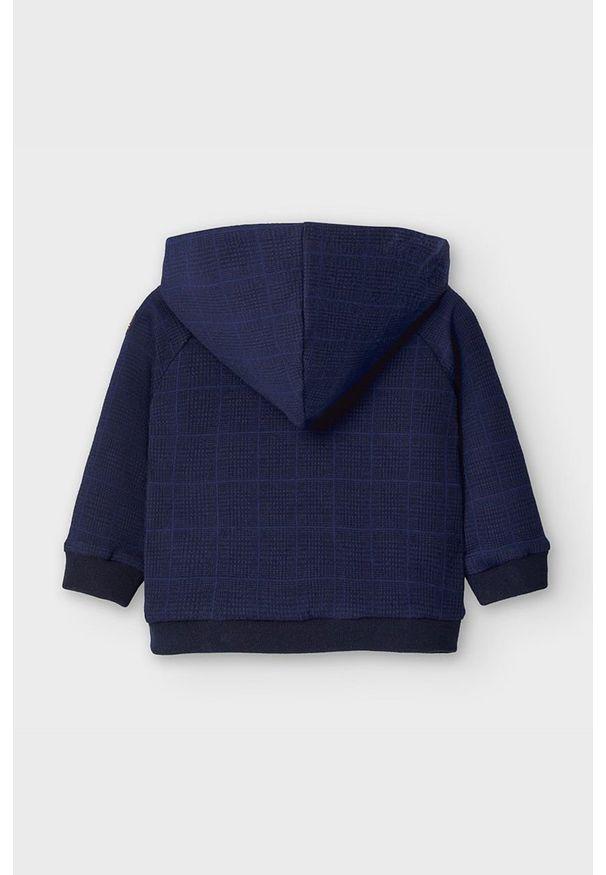 Niebieska bluza Mayoral z nadrukiem, z kapturem
