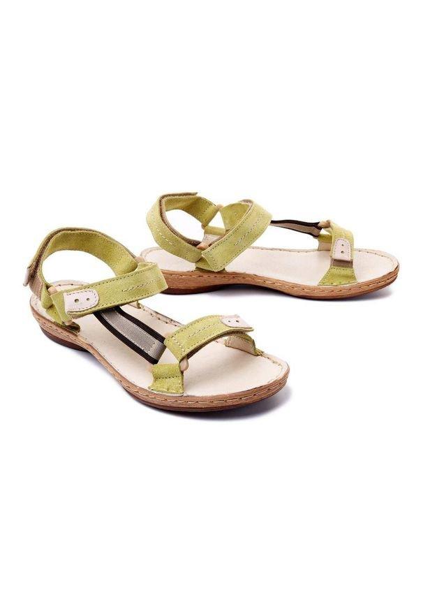 Łukbut - ŁUKBUT 636 jasny zielony welur, sandały damskie. Zapięcie: rzepy. Kolor: zielony. Materiał: welur