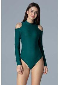Figl - Zielone Dopasowane Body z Półgolfem z Wycięciami na Ramionach. Kolor: zielony. Materiał: poliester, elastan