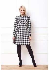 e-margeritka - Sukienka w kratę z długim rękawem czarno-biała - 40. Kolor: wielokolorowy, biały, czarny. Materiał: bawełna, elastan. Długość rękawa: długi rękaw. Typ sukienki: proste