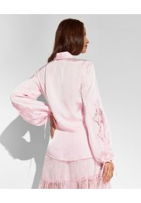 Ermanno Firenze - ERMANNO FIRENZE - Różowa koszula z bufiastymi rękawami. Okazja: do pracy, na spotkanie biznesowe. Kolor: wielokolorowy, fioletowy, różowy. Materiał: satyna, wiskoza, tkanina, koronka. Długość: długie. Styl: biznesowy, klasyczny, elegancki