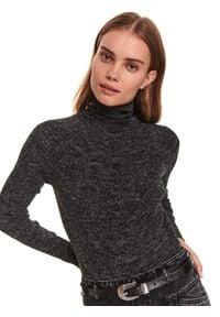 TOP SECRET - Damski sweter z golfem. Typ kołnierza: golf. Kolor: czarny. Materiał: materiał. Długość: długie. Wzór: aplikacja. Sezon: zima