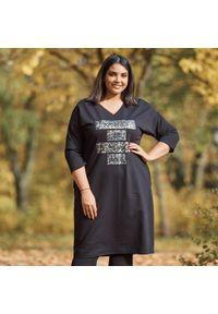 Czarna sukienka dla puszystych Moda Size Plus Iwanek z dekoltem w kształcie v, na jesień, z nadrukiem