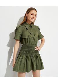 SELF PORTRAIT - Zielona sukienka mini z trenczu. Typ kołnierza: kolnierz wykładany. Kolor: zielony. Typ sukienki: rozkloszowane, dopasowane. Styl: klasyczny. Długość: mini