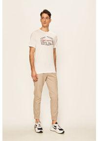 Biały t-shirt columbia casualowy, z nadrukiem