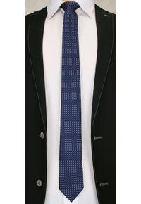 Elegancki Krawat Męski w Niebieskie Groszki - 6 cm - Angelo di Monti- Granatowy. Kolor: niebieski. Wzór: grochy. Styl: elegancki