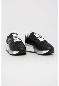 Czarne buty sportowe Blauer z cholewką, na sznurówki, na obcasie, na średnim obcasie