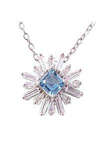 Braccatta - XARA Srebrny naszyjnik, wisiorek blue topaz, celebrytka 2,7 ct.. Materiał: srebrne. Kolor: srebrny. Wzór: aplikacja. Kamień szlachetny: topaz