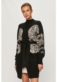 Czarny sweter rozpinany Silvian Heach długi, klasyczny