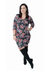 Czarna sukienka dla puszystych Moda Size Plus Iwanek plus size, na zimę, w kwiaty