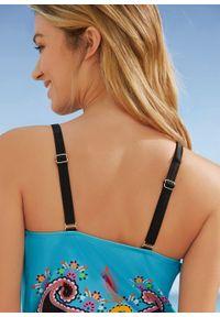 Kostium kąpielowy bonprix turkusowy z nadrukiem. Kolor: niebieski. Wzór: nadruk #3