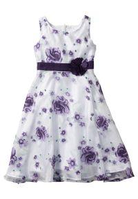 Sukienka dziewczęca na uroczyste okazje bonprix bez - ciemny lila. Kolor: fioletowy. Wzór: aplikacja, nadruk