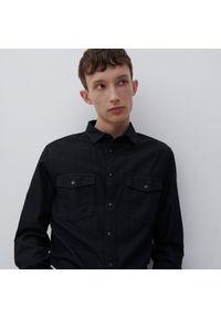 Reserved - Jeansowa koszula z bawełny organicznej - Czarny. Kolor: czarny. Materiał: bawełna, jeans