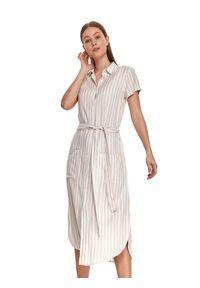 TOP SECRET - Koszulowa sukienka midi w pionowe paski, z wiązaniem w talii. Kolor: biały. Materiał: dzianina, len. Długość rękawa: krótki rękaw. Wzór: paski. Sezon: lato. Typ sukienki: koszulowe. Długość: midi
