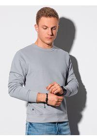 Ombre Clothing - Bluza męska bez kaptura bawełniana B1146 - szara - XXL. Typ kołnierza: bez kaptura. Kolor: szary. Materiał: bawełna. Styl: klasyczny, elegancki