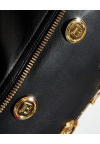 Czarna kurtka Balmain z aplikacjami, z długim rękawem, długa