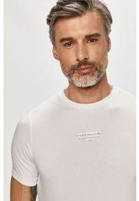 Biały t-shirt Karl Lagerfeld klasyczny, z aplikacjami