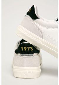 Białe sneakersy Pepe Jeans na sznurówki, z cholewką, z okrągłym noskiem