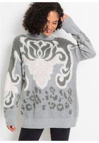 Szary sweter bonprix ze stójką, długi