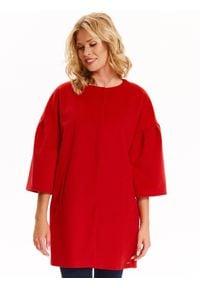 TOP SECRET - Płaszcz damski zapinany z modnym dzwonkowym rękawem. Okazja: na co dzień. Kolor: czerwony. Długość rękawa: krótki rękaw. Sezon: zima, jesień. Styl: elegancki, casual