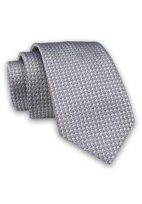 Alties - Szary, Srebrny Elegancki Męski Krawat -ALTIES- 7cm, Stylowy, Klasyczny, Drobny Wzór. Kolor: srebrny, wielokolorowy, szary. Materiał: tkanina. Styl: klasyczny, elegancki
