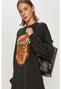 Czarna bluza Wrangler bez kaptura, z nadrukiem