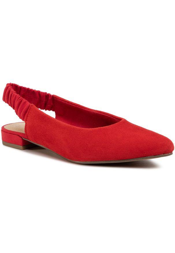 Czerwone sandały Marco Tozzi na co dzień, casualowe