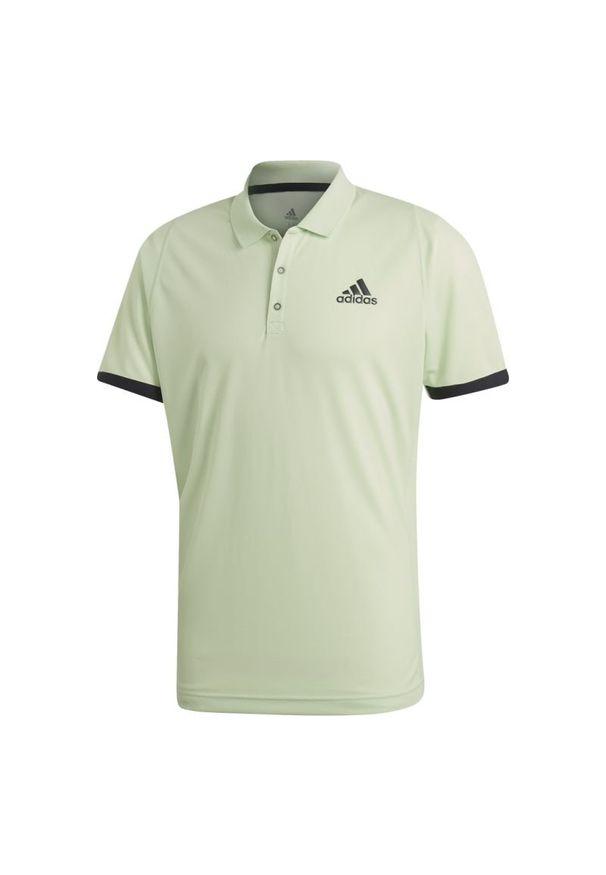Zielona koszulka sportowa Adidas w kolorowe wzory, ClimaLite (Adidas), polo