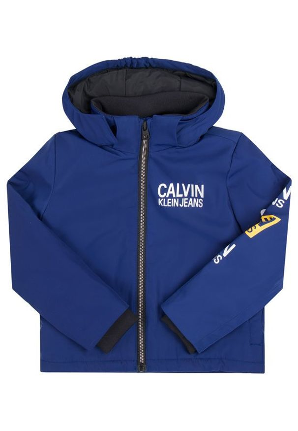 Calvin Klein Jeans Kurtka puchowa Stamp Logo IB0IB00375 Granatowy Regular Fit. Kolor: niebieski. Materiał: puch