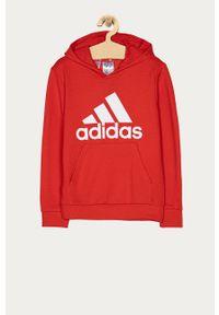 Czerwona bluza Adidas z nadrukiem, casualowa, z kapturem