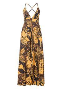 Sukienka z dekoltem halter bonprix czarno-żółty w roślinny wzór. Typ kołnierza: dekolt halter. Kolor: czarny. Długość: maxi